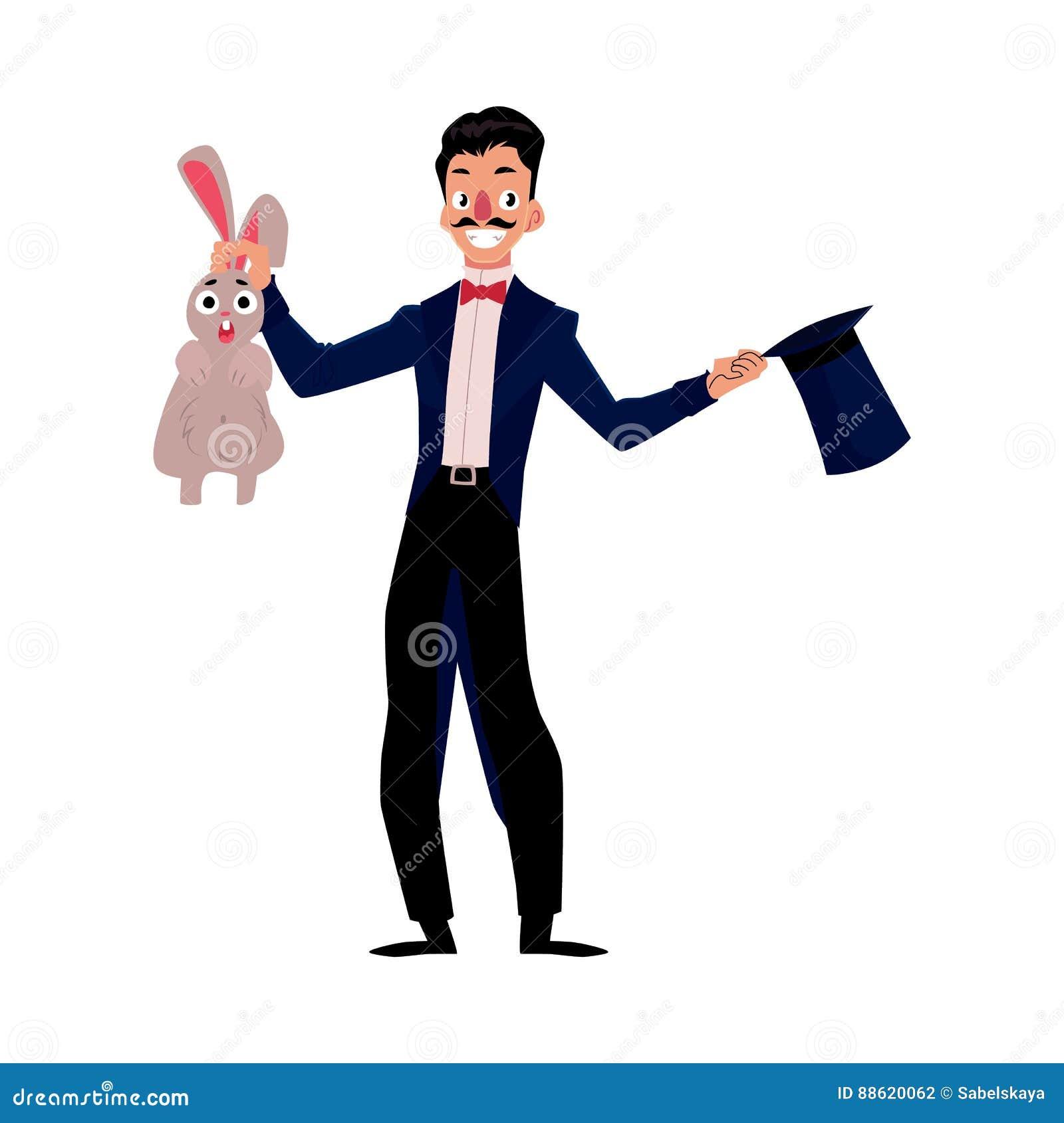 Magik, iluzjonista czaruje królika z kapeluszu, artysty wykonawca