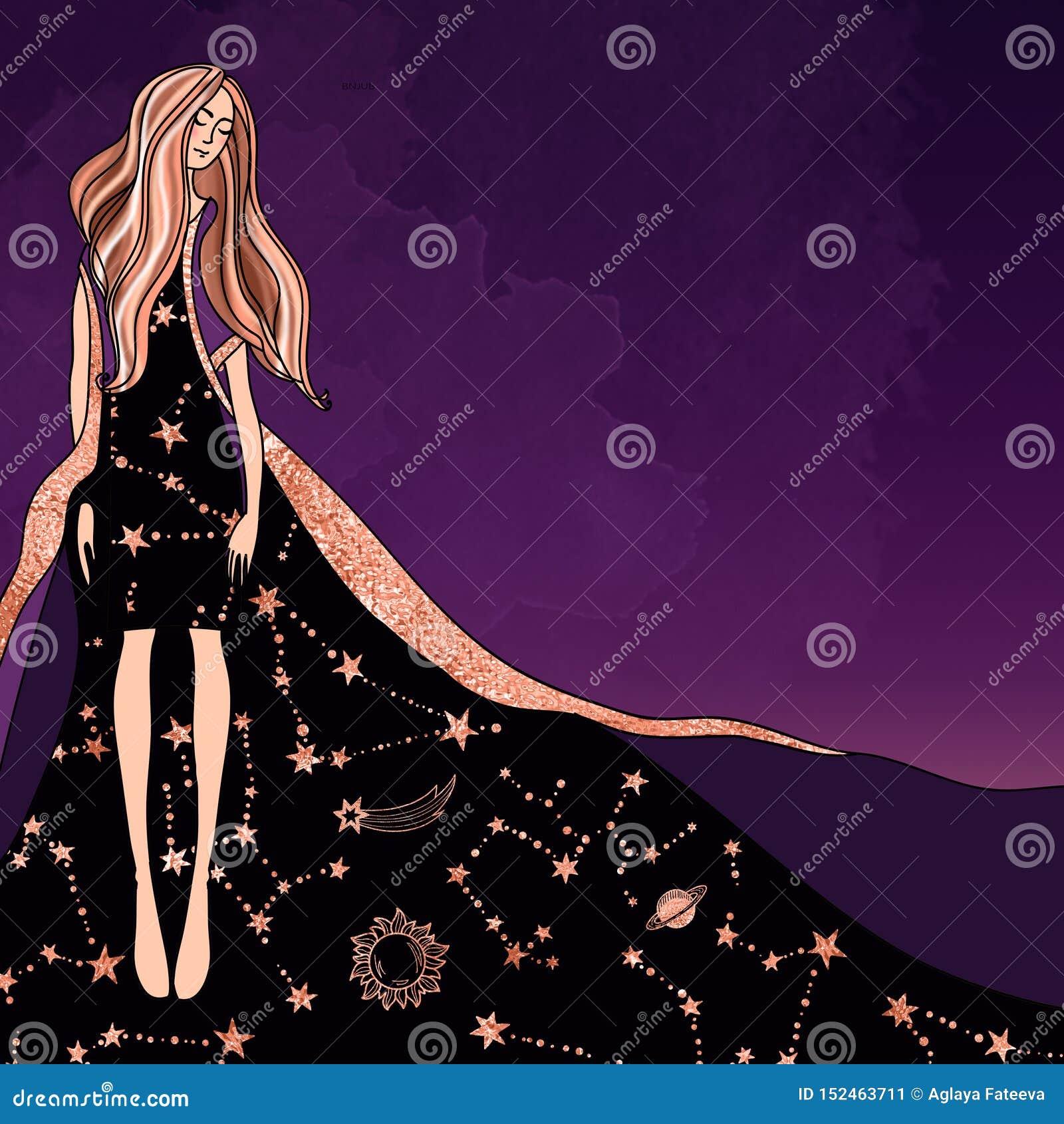 Magisch astroloogmeisje in een kleding met een Dierenriempatroon op een in mystieke purpere achtergrond
