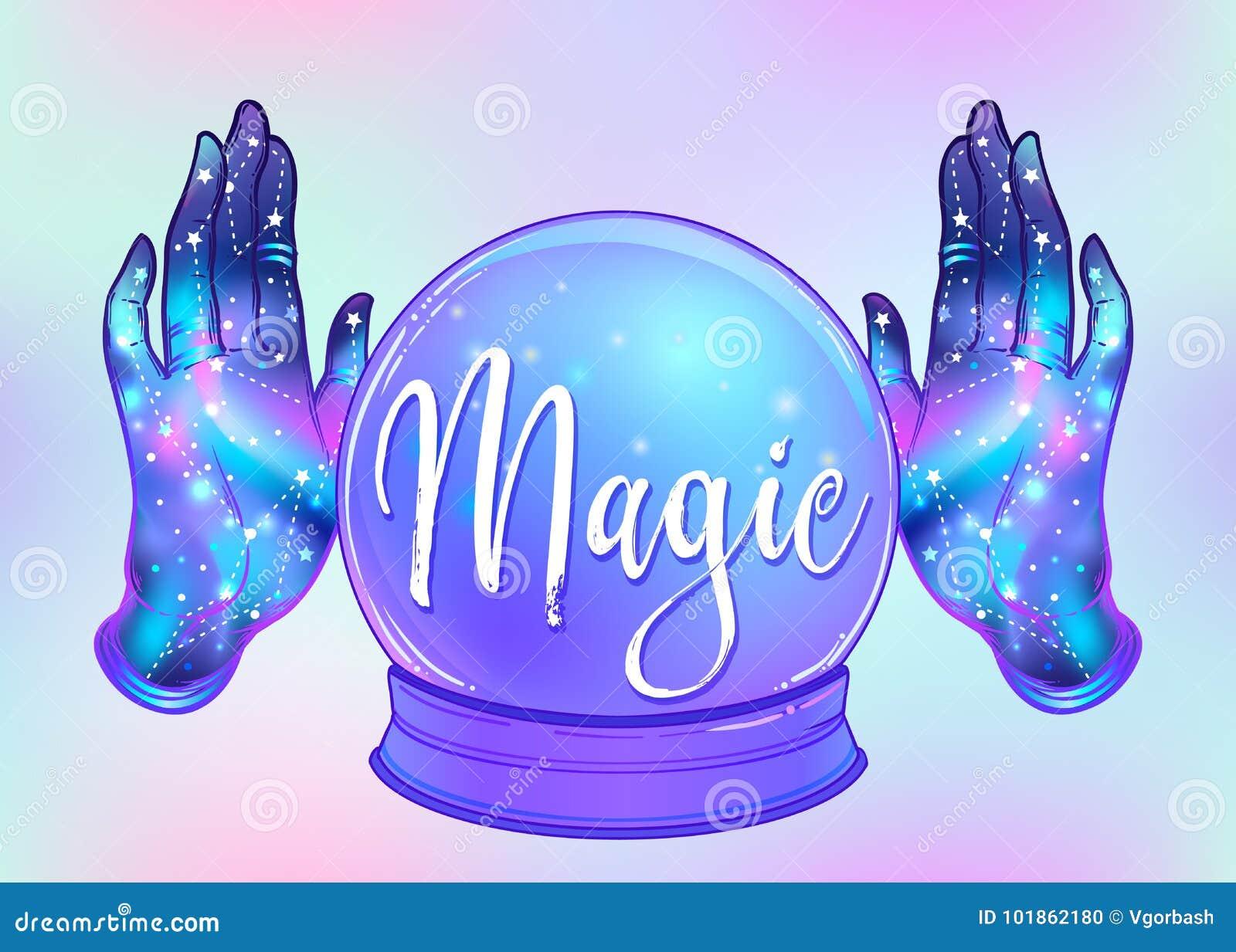 Magisch Crystal Ball en vrouwelijke open handen met binnen melkweg Cre