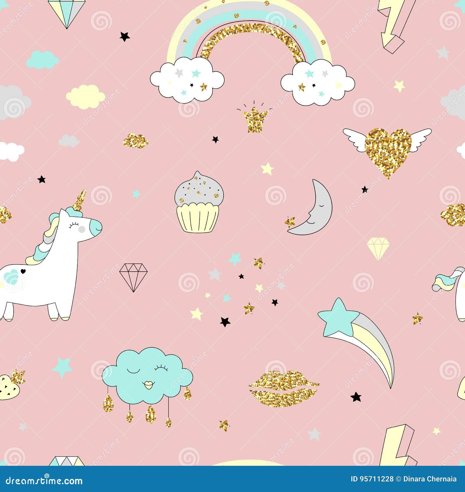 Magisch ontwerp naadloos patroon met eenhoorn, regenboog, harten, wolken