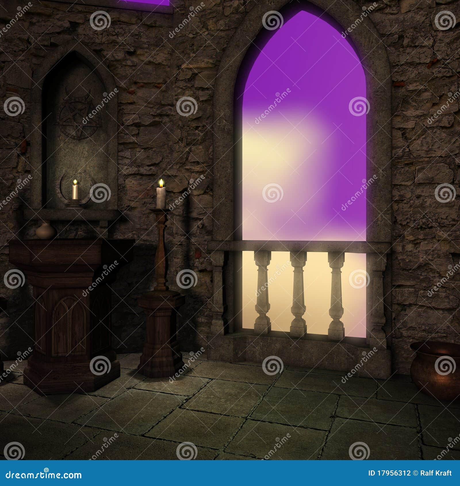Magisch venster in fantasie het plaatsen