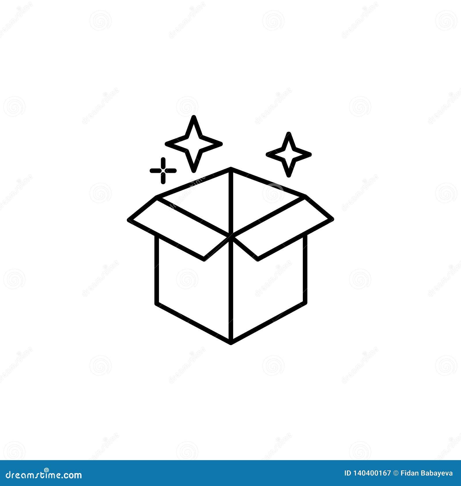 Magische Kastenentwurfsikone Zeichen und Symbole können für Netz, Logo, mobiler App, UI, UX verwendet werden