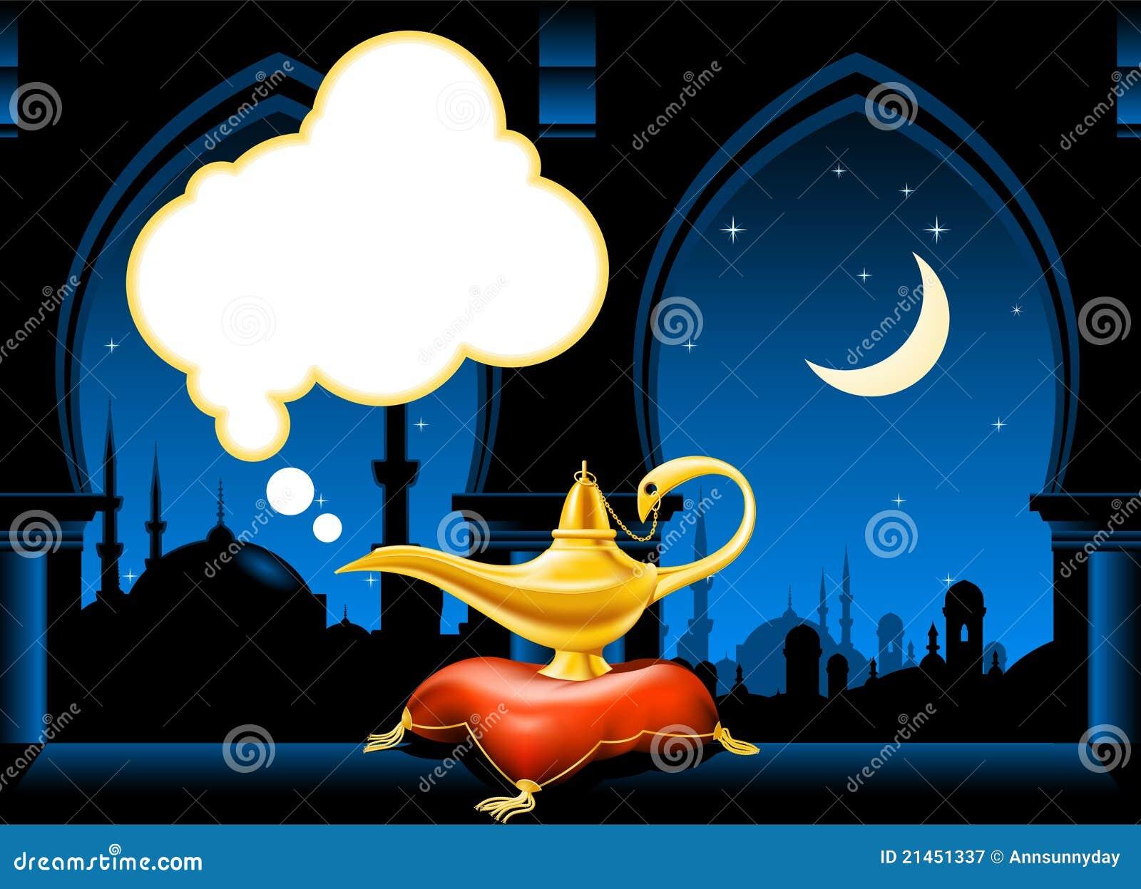 Magische Lampe und arabische Stadt-Skyline