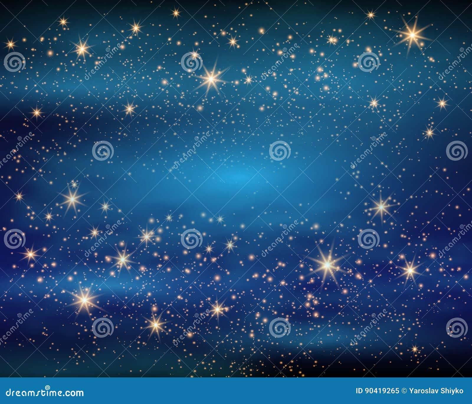 Magische Ruimte De Oneindigheid van het feestof Abstracte heelalachtergrond Blauwe Gog en Glanzende Sterren Vector illustratie