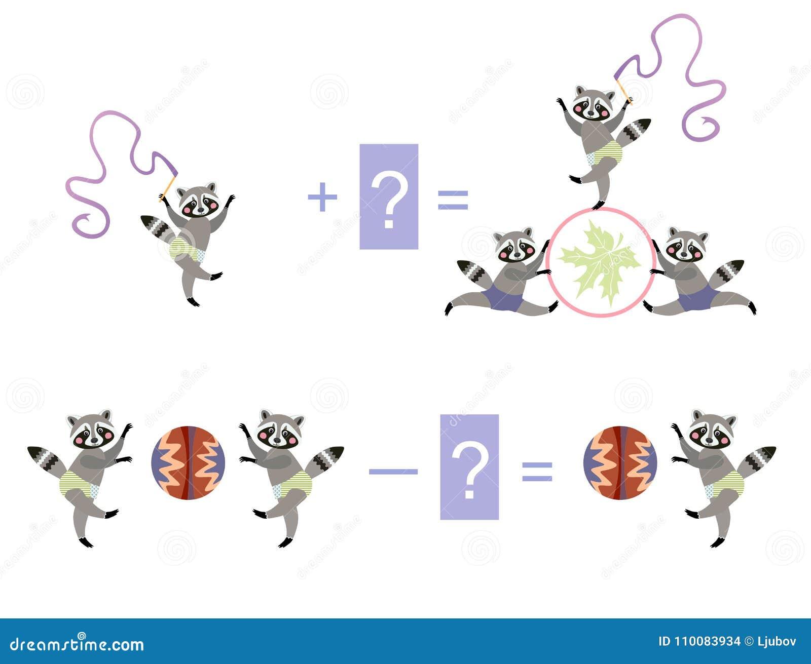 Magische wiskunde met leuke wasberen Onderwijsspel voor kinderen