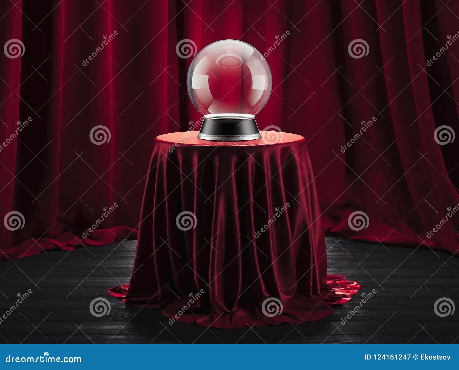 Magischer Ballwahrsager bedeckte auf dem Tisch roten Stoff, Wiedergabe 3d