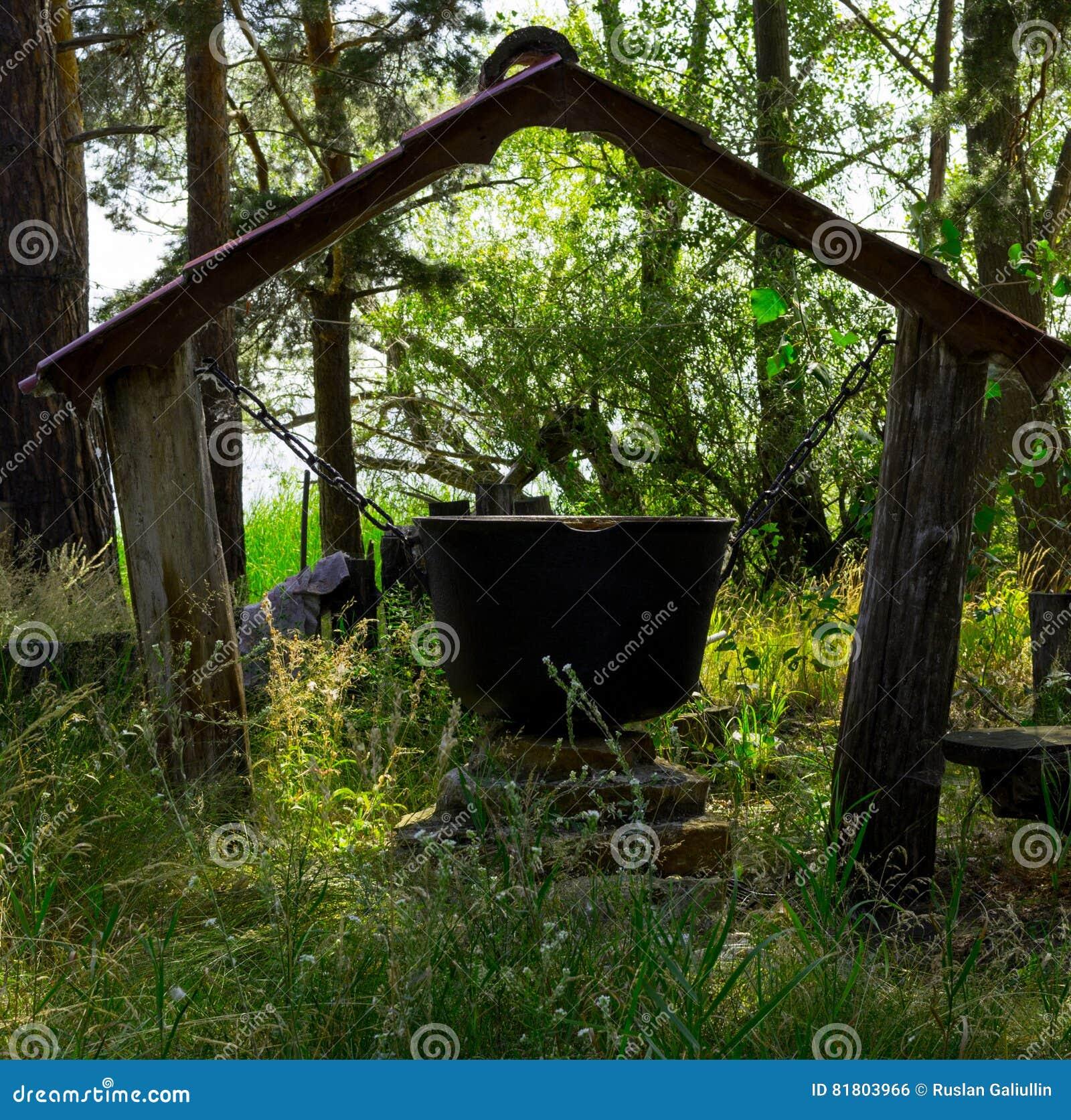 Magischer großer Kessel im Wald