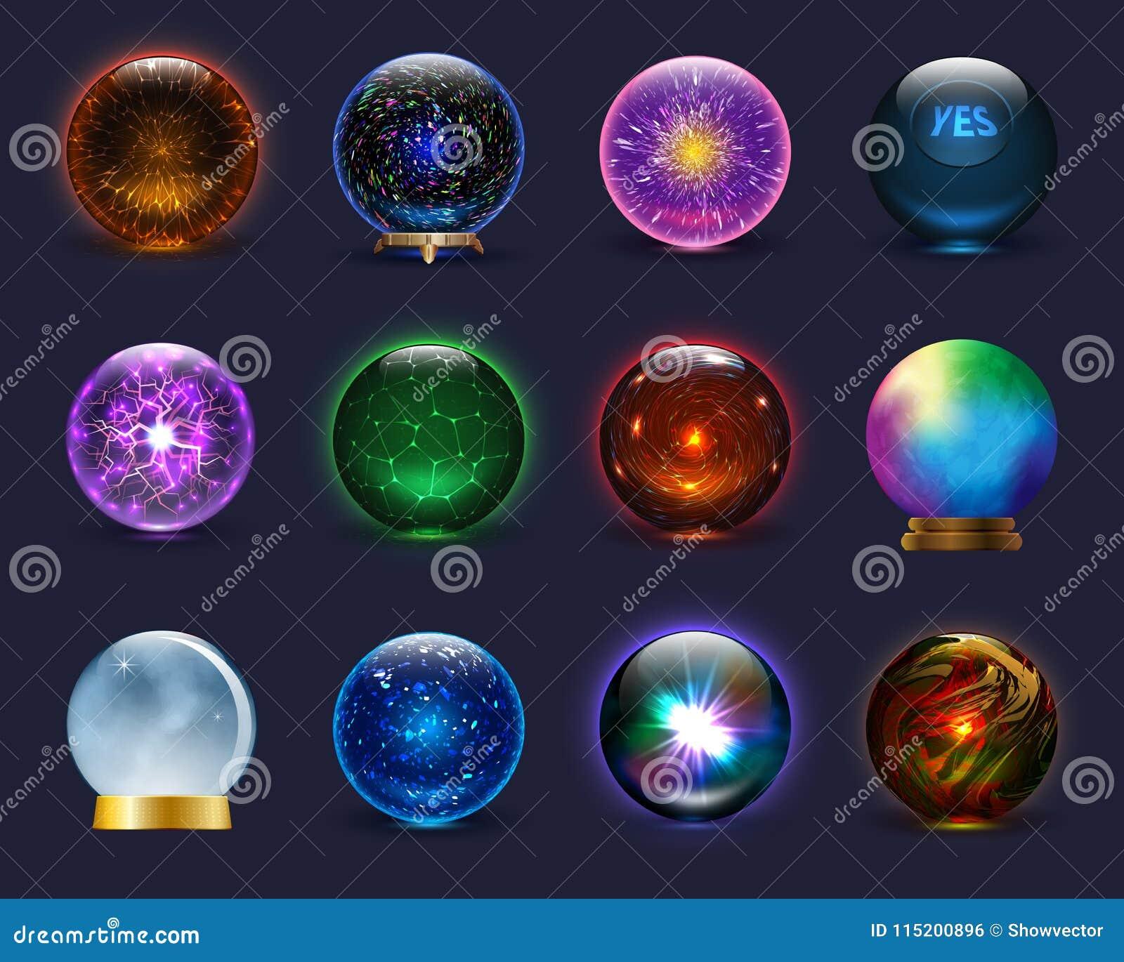 Magischer Kristallglasbereich des magischen Ballvektors und transparente Kugel des glänzenden Blitzes als Vorhersagenwahrsagerill