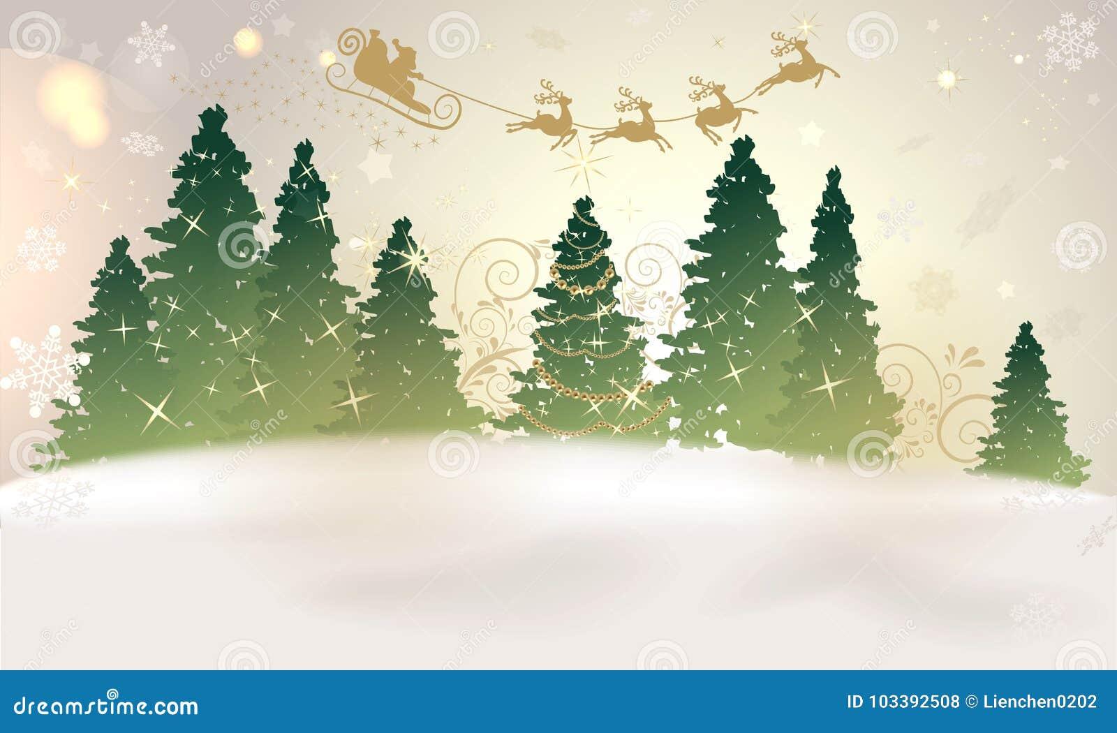 Magischer Weihnachtshintergrund Mit Sankt Und Weihnachtsbaum Stock ...