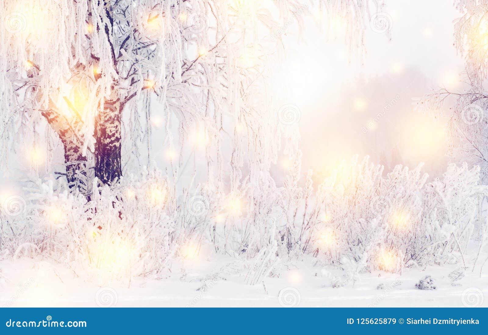 Magischer Weihnachtswinterhintergrund Glänzende Schneeflocken und Winternatur mit Reif auf Bäumen Eisiger Winter