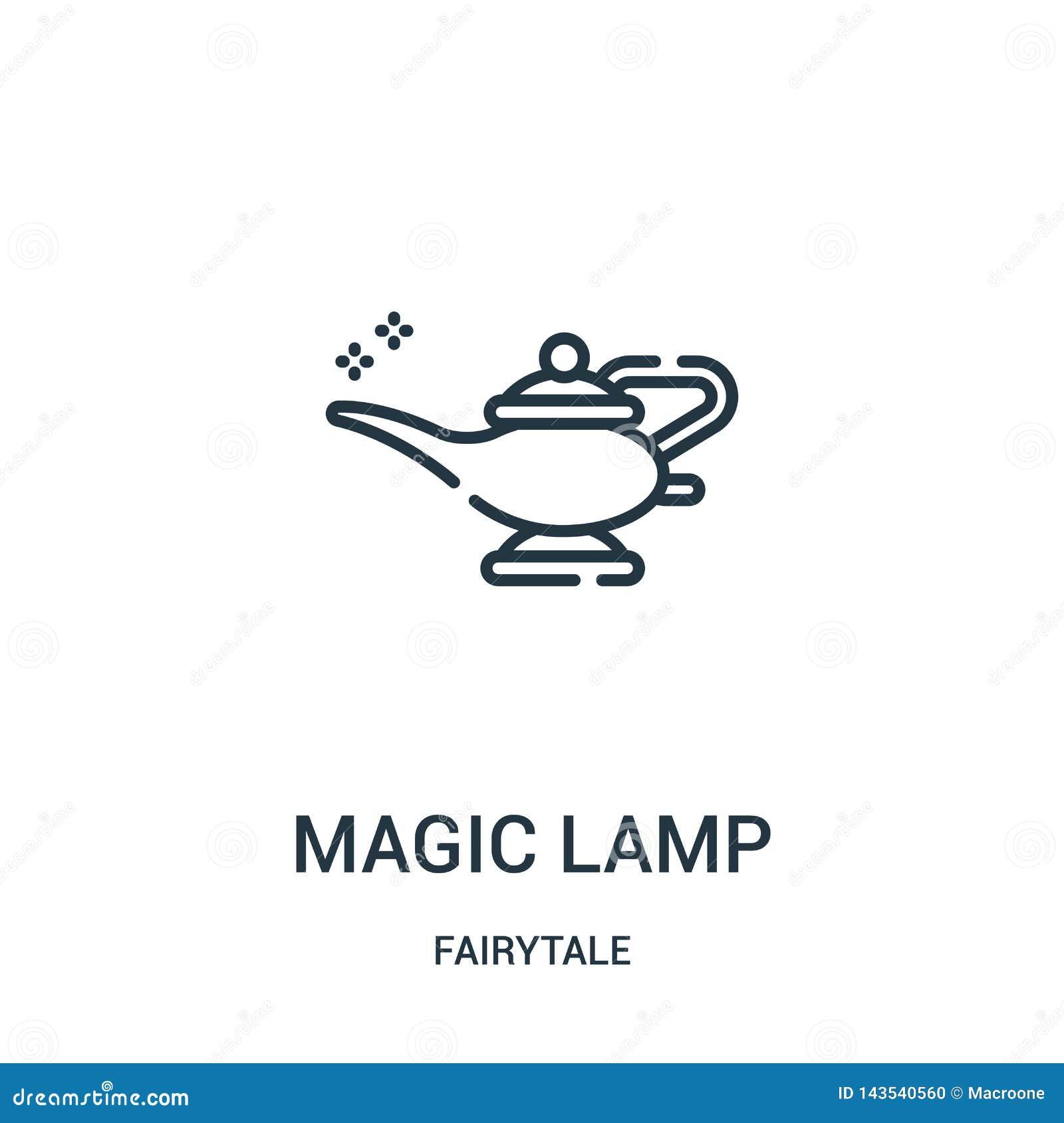 Magisk lampsymbolsvektor från sagasamling Tunn linje magisk illustration för vektor för lampöversiktssymbol