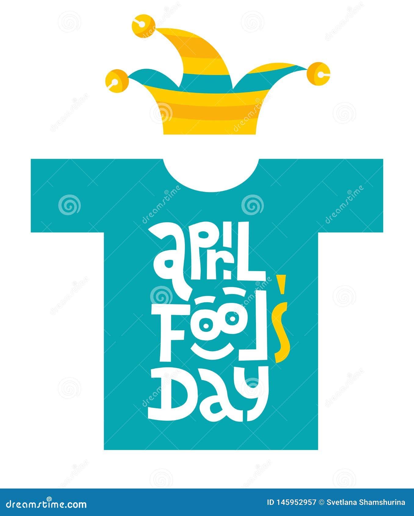 Maglietta di giorno dei pesci d aprile con l iscrizione disegnata a mano di vettore con il cappello divertente del giullare e del