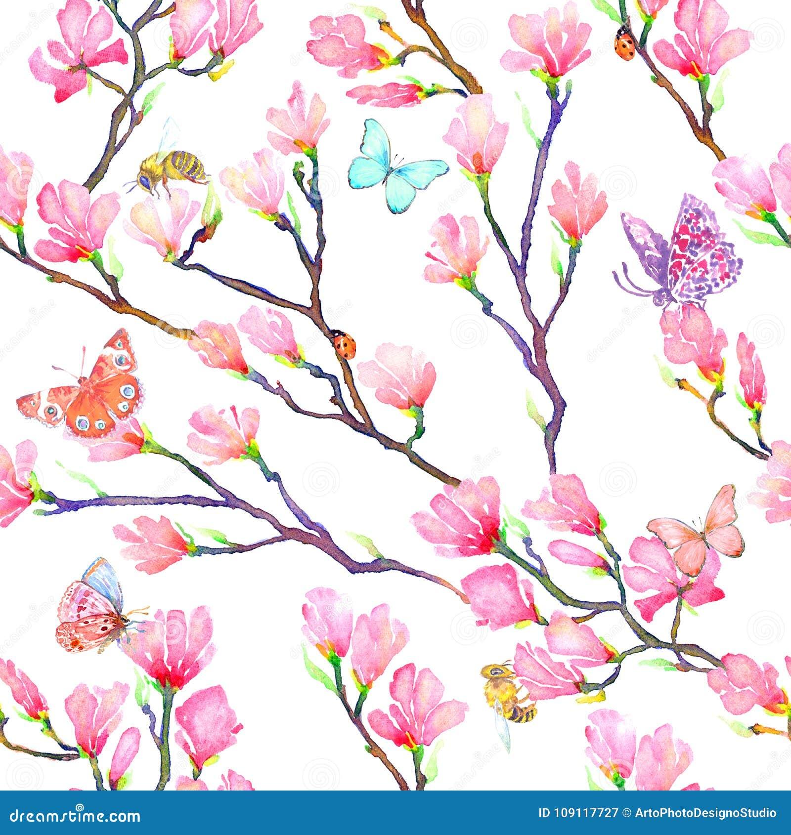 A magnólia cor-de-rosa ramifica com borboletas, erros, joaninhas e abelhas
