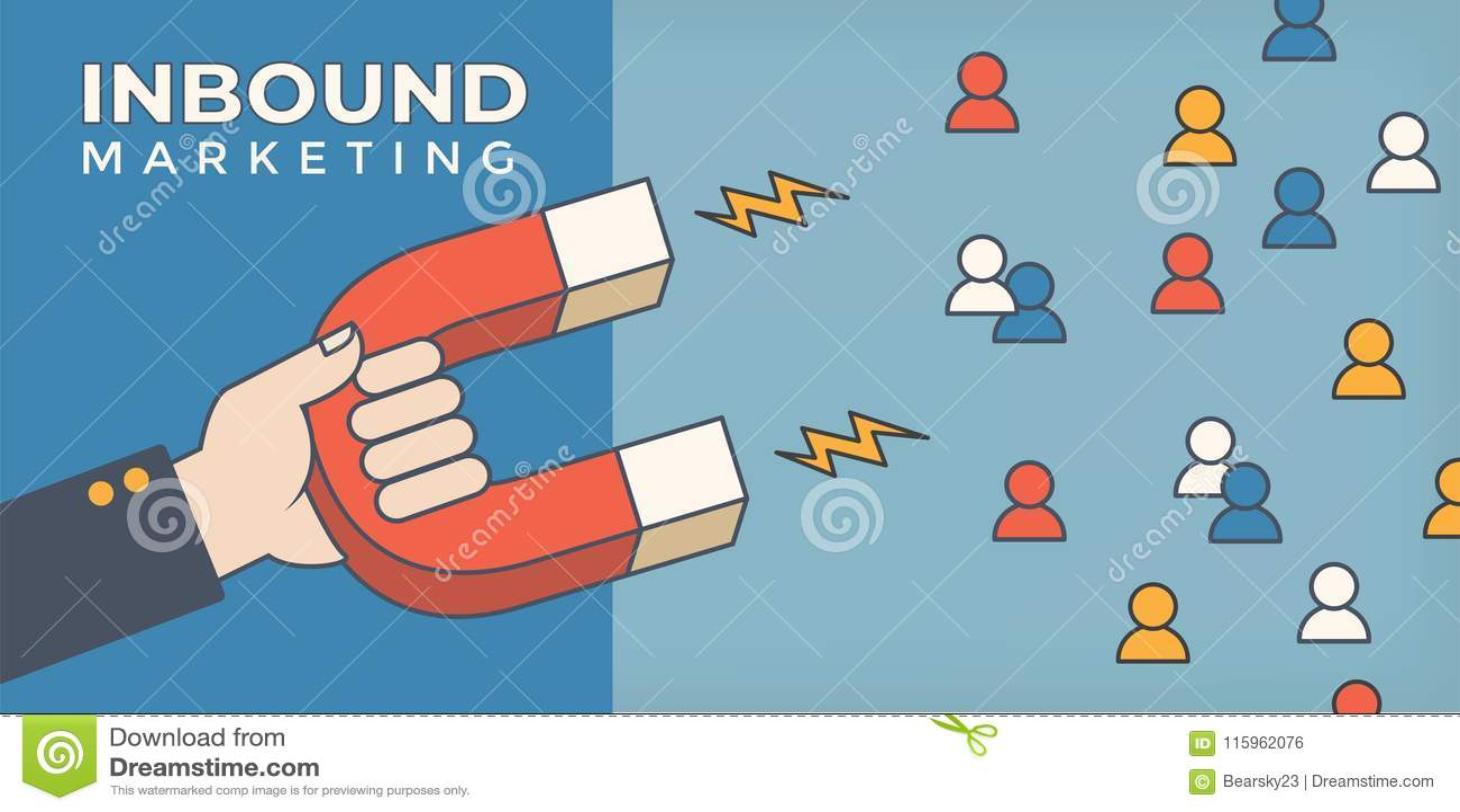 Magneet die mensen voor binnenkomende loodgeneratie trekken - digitaal marketing symbool