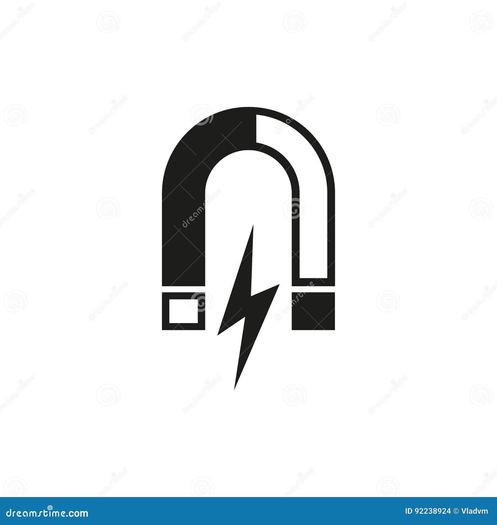 Magnes ikona Magnesowy i przyciąga, physics symbol Płaski projekt Zapas - wektor