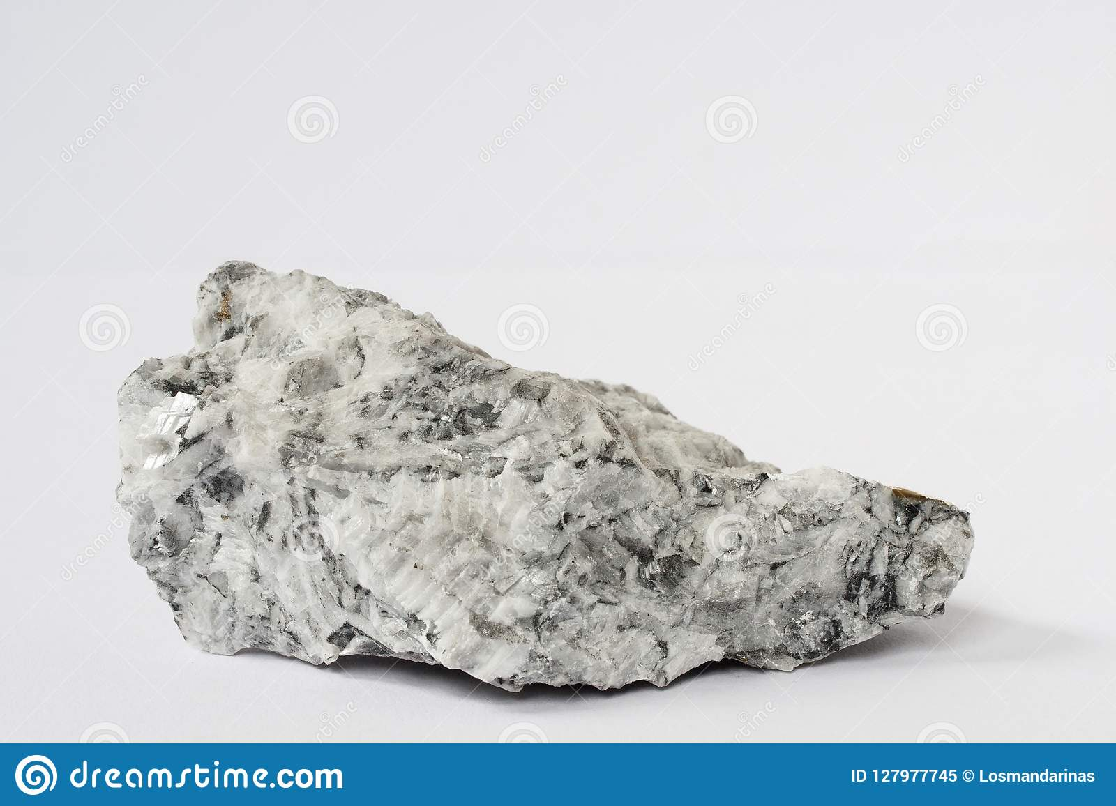 Magnesite mineral on white background