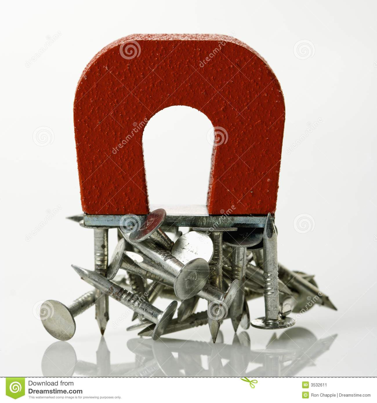 Magnet with nails. stock image. Image of metal, electromagnet - 3532611