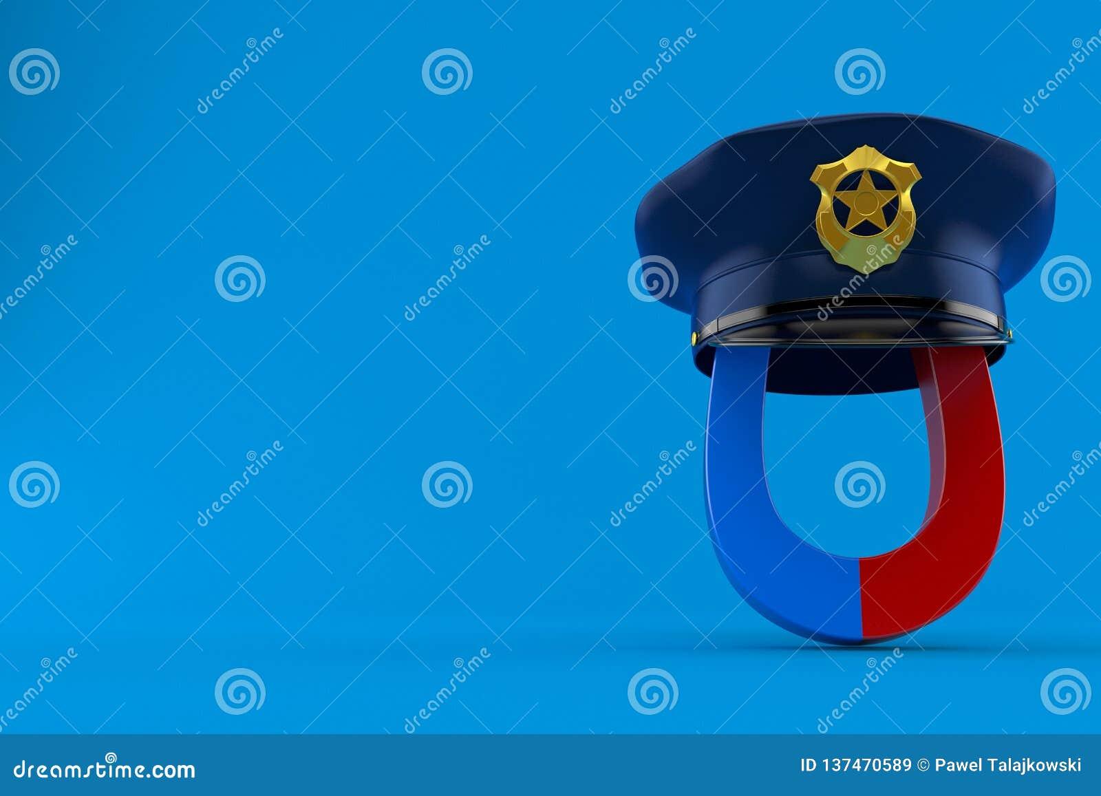Magnete a ferro di cavallo con il cappello della polizia