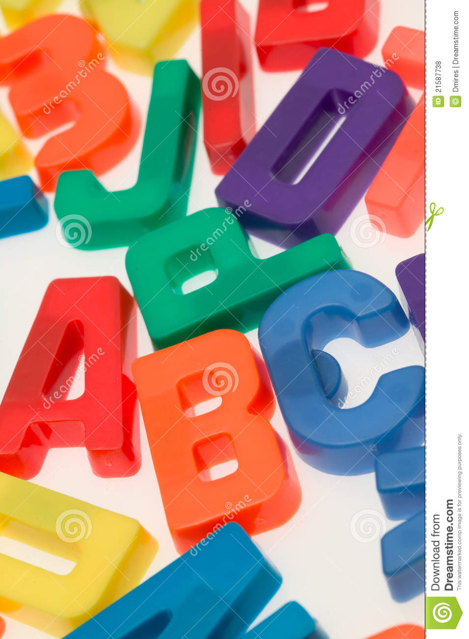 magnetic letters of the alphabet on a white backgr