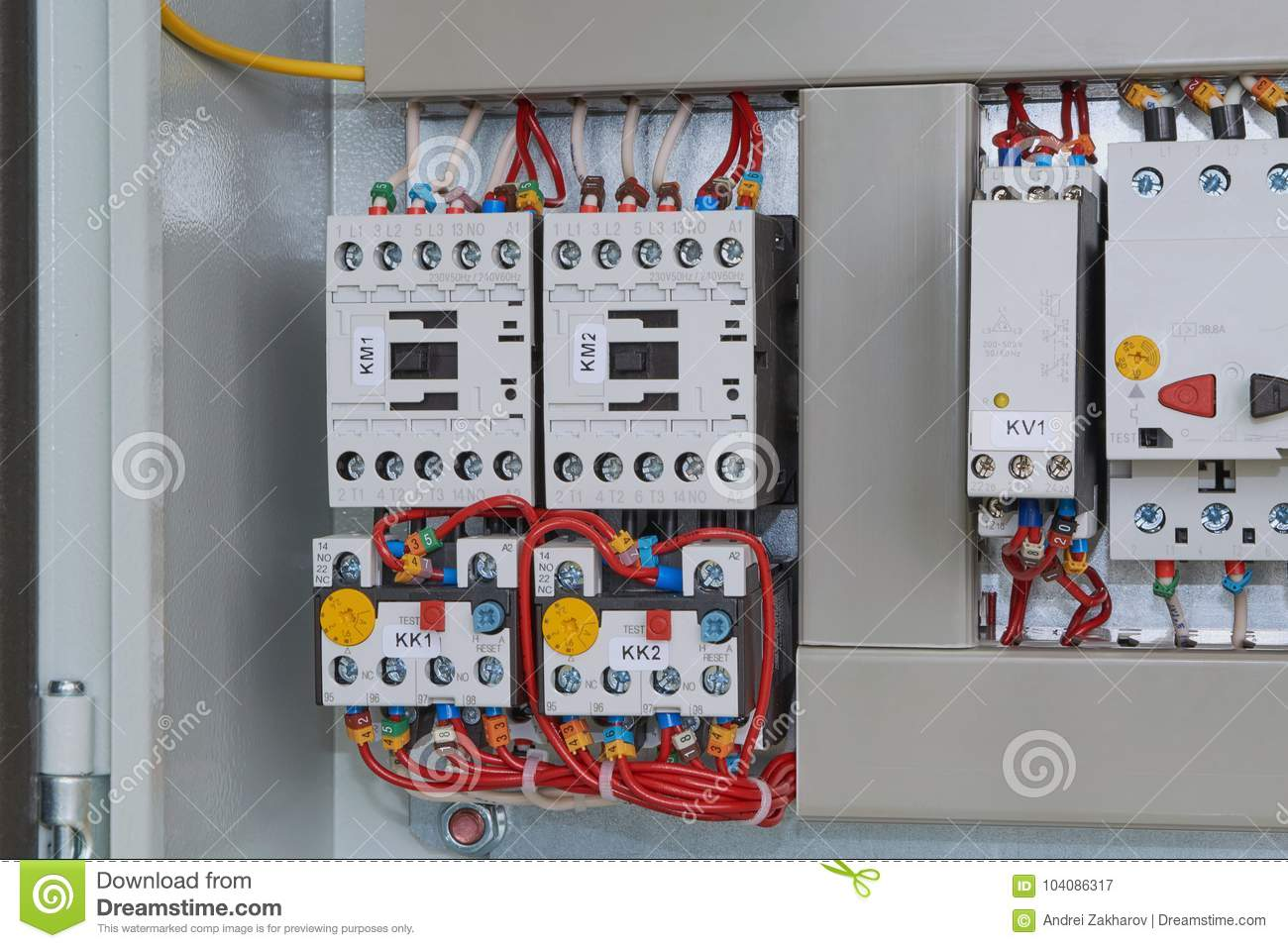 Magnetic Starters With Thermal Relays Connected By Wires Stock Electronic Circuit Using Relay