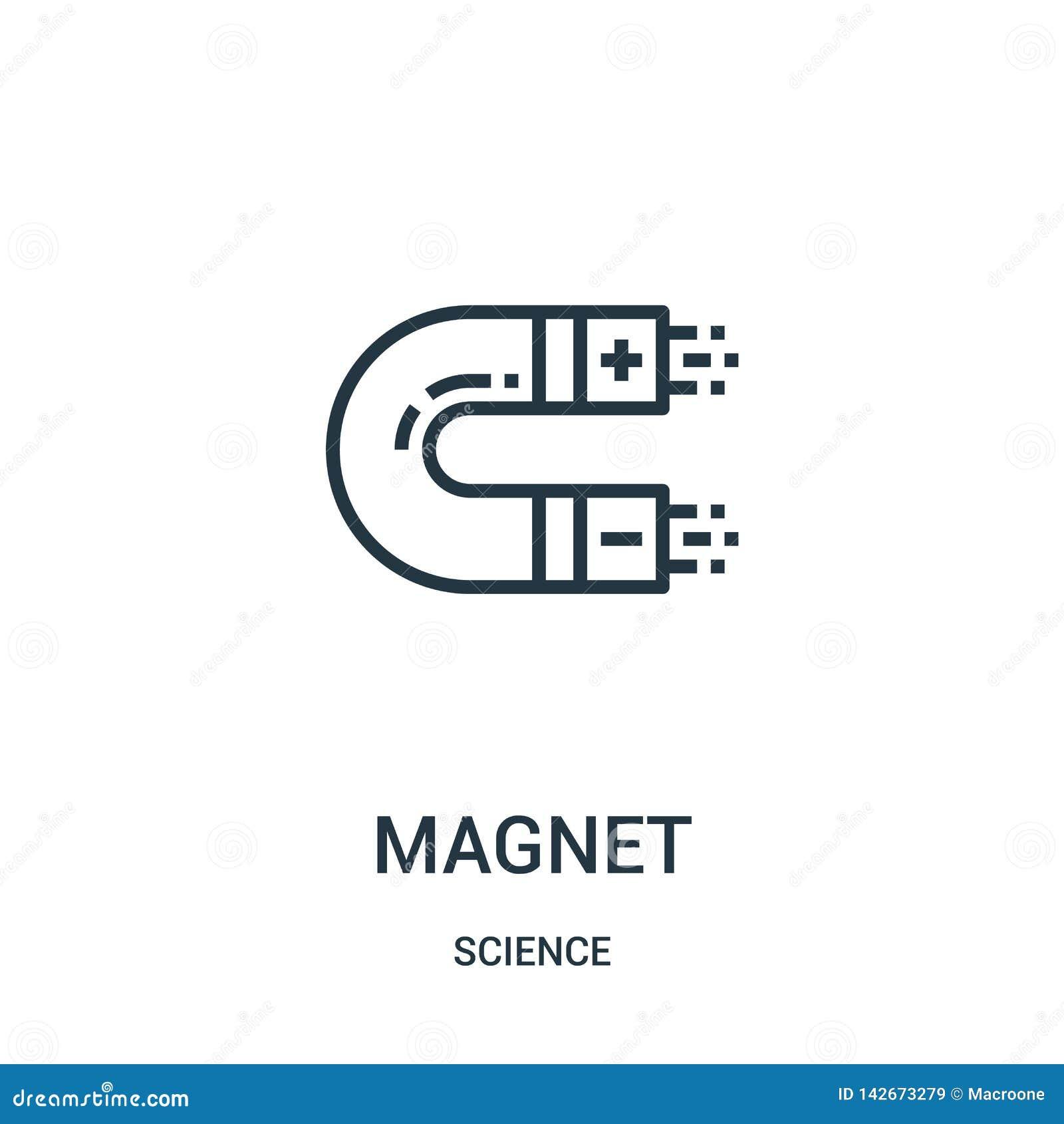 Magnetikonenvektor von der Wissenschaftssammlung Dünne Linie Magnetentwurfsikonen-Vektorillustration Lineares Symbol für Gebrauch