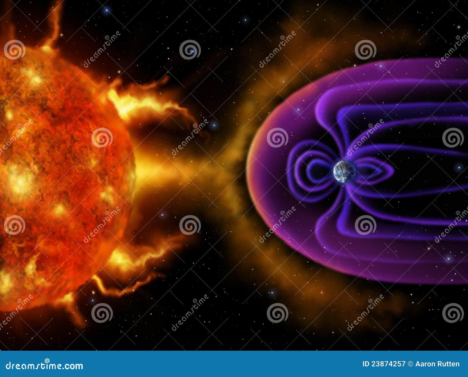 Magnetosphere cyfrowy ziemski obraz s