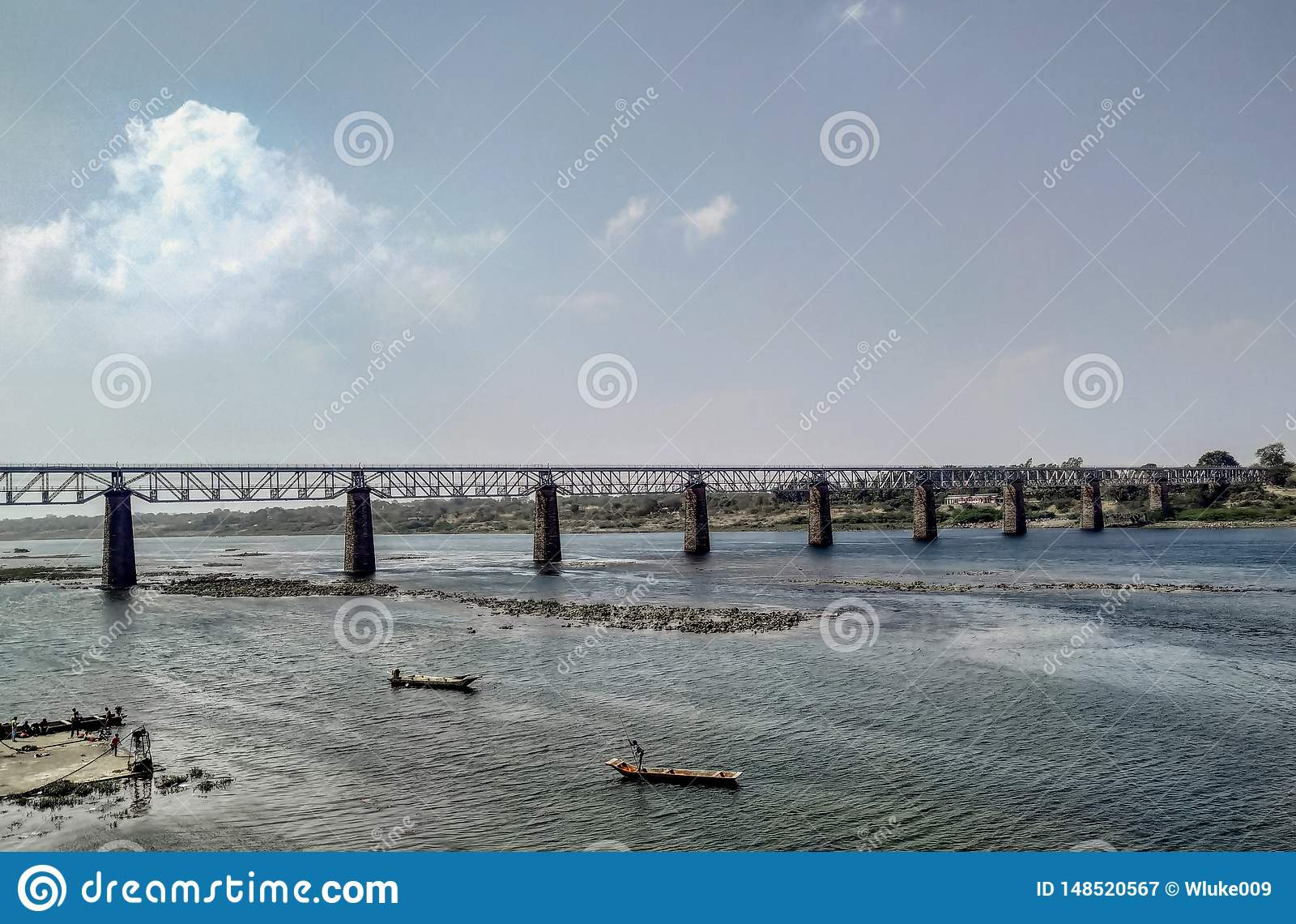 Magnificent Bridge on Flowing River Landscape