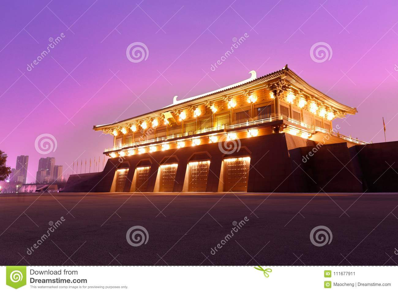 Chinese gate tower of tang dynasty under ultra violet night sky, srgb image