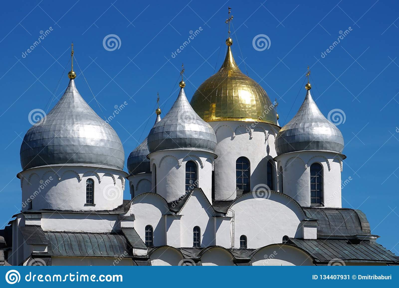 The magnificent domes of the old St. Sophia Cathedral in Novgorod.
