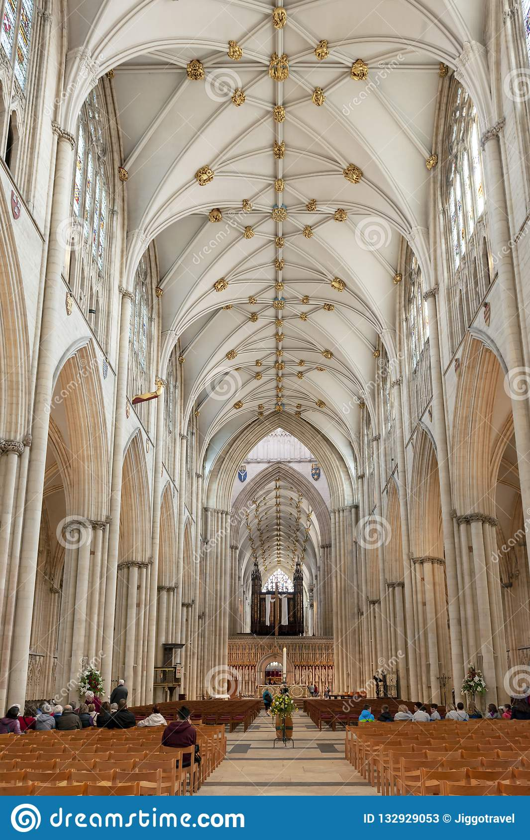 Magnificent gothic Nave inside York Minster, historic cathedral built in English  gothic architectural style,