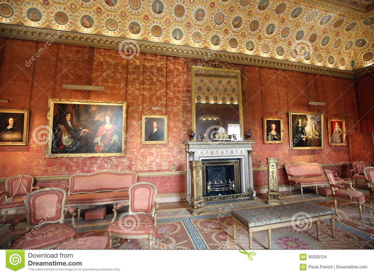 The Magnificent Living room is full of Paintings of Royalty from years gone by.