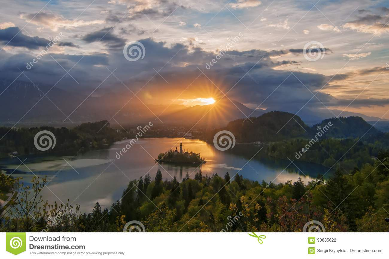 Magnificent sunrise over Lake Bled, Slovenia