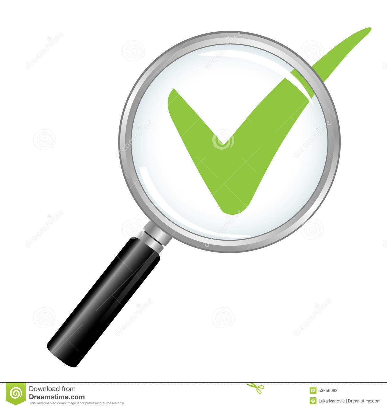 Magnified Check Mark Stock Photo Image 53356063
