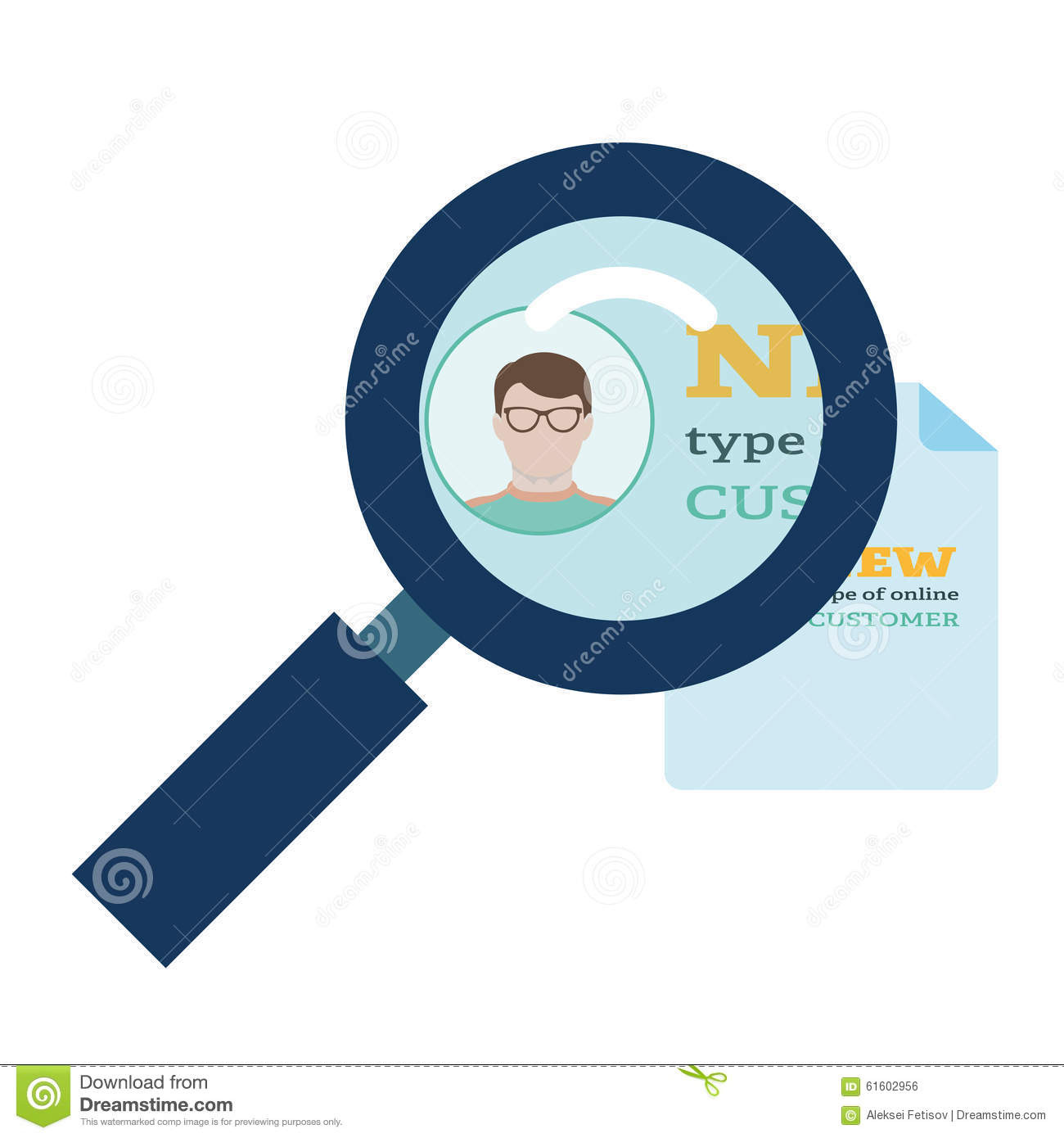 Magnifier enlarges the document on which is the person in glasses in flat style