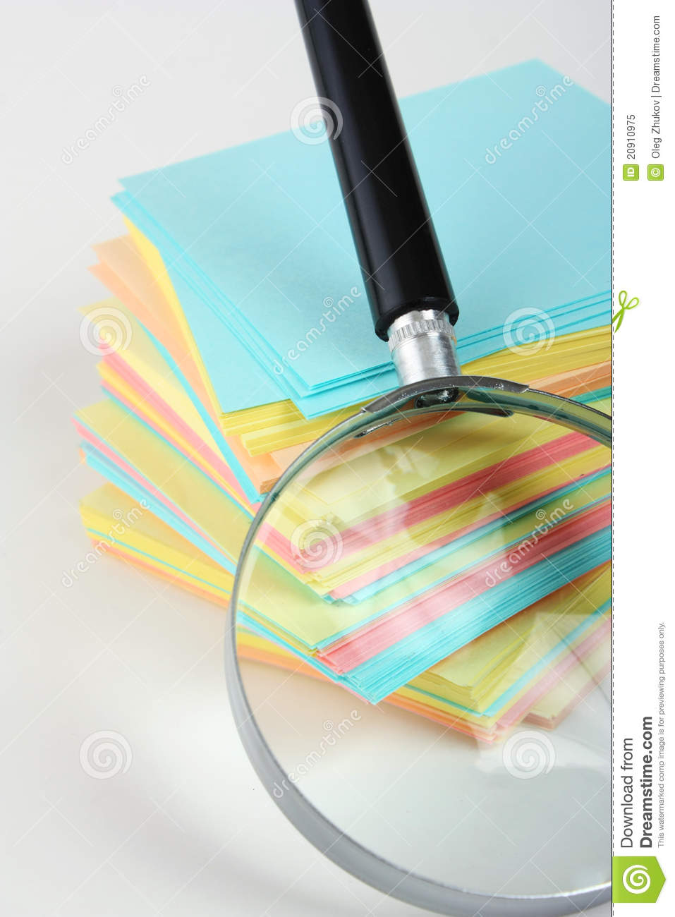 Magnifier Enlarges The Stack Of Sheets Stock Image - Image ...