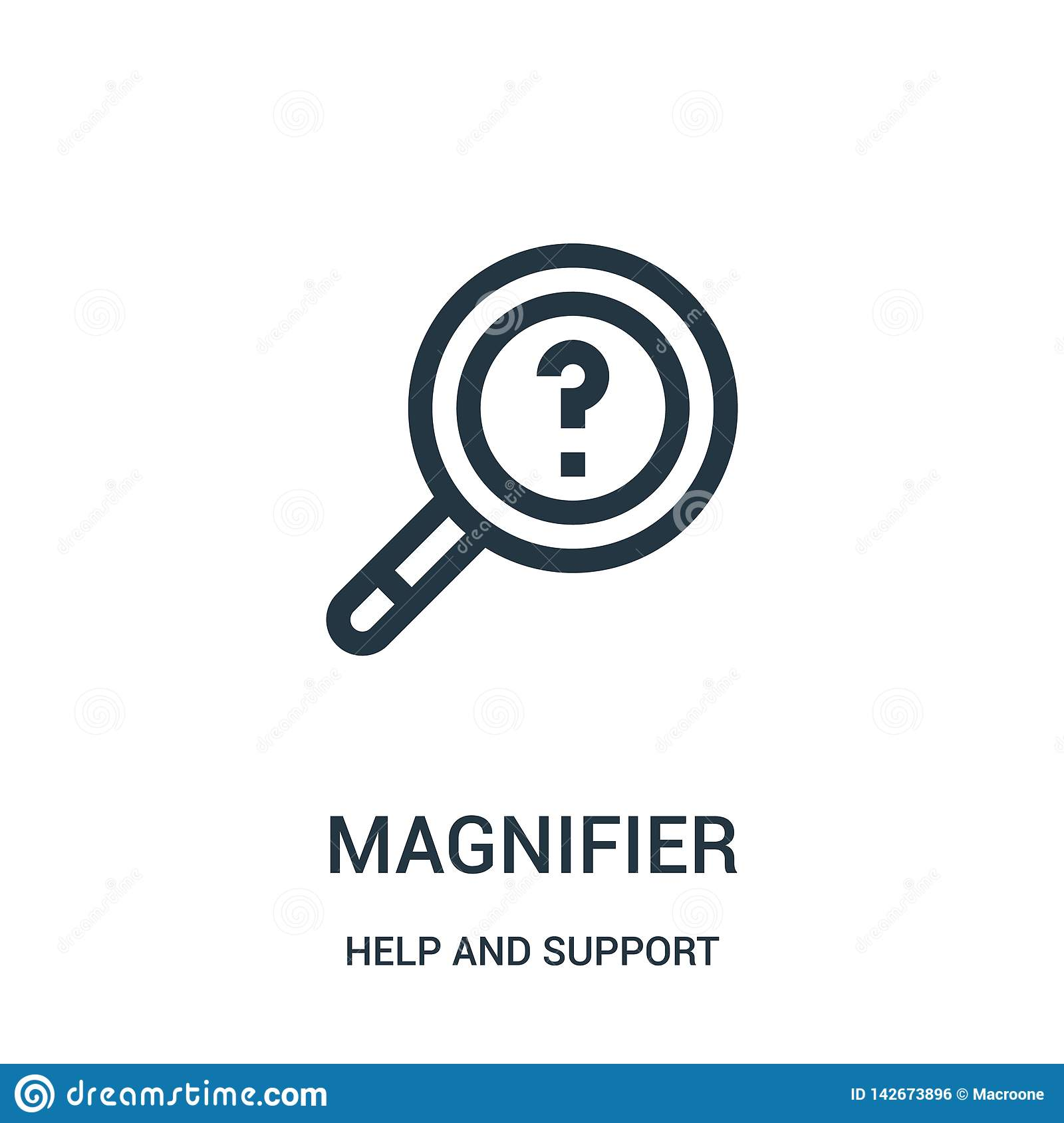 magnifier icon vector from help and support collection. Thin line magnifier outline icon vector illustration. Linear symbol for