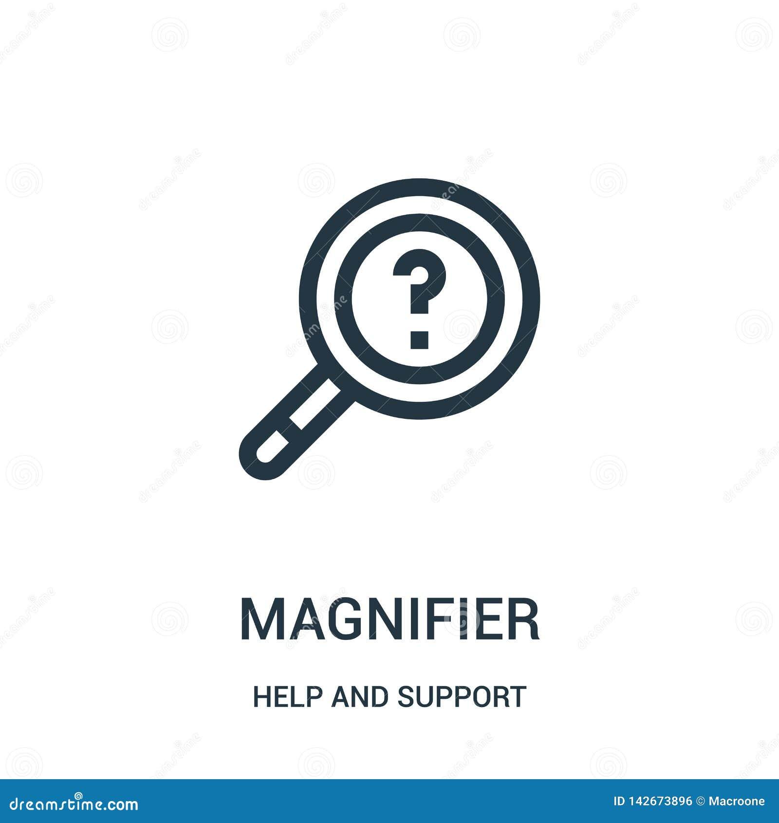 Magnifier ikony wektor od pomocy i poparcie kolekcji Cienka kreskowa magnifier konturu ikony wektoru ilustracja Liniowy symbol dl