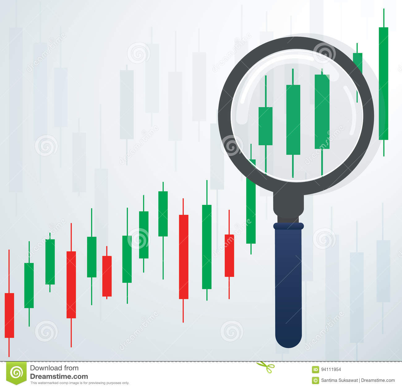 The Magnifying Glass And Candlestick Chart Stock Market
