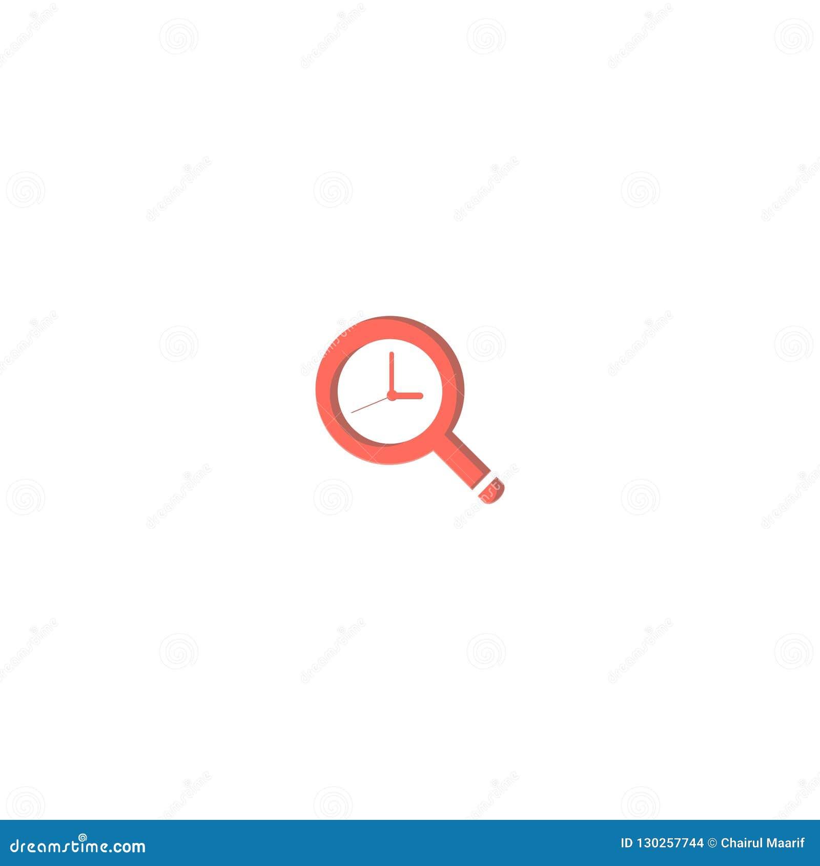 Magnifying glass and Clock logo design. symbol dan icon vector template
