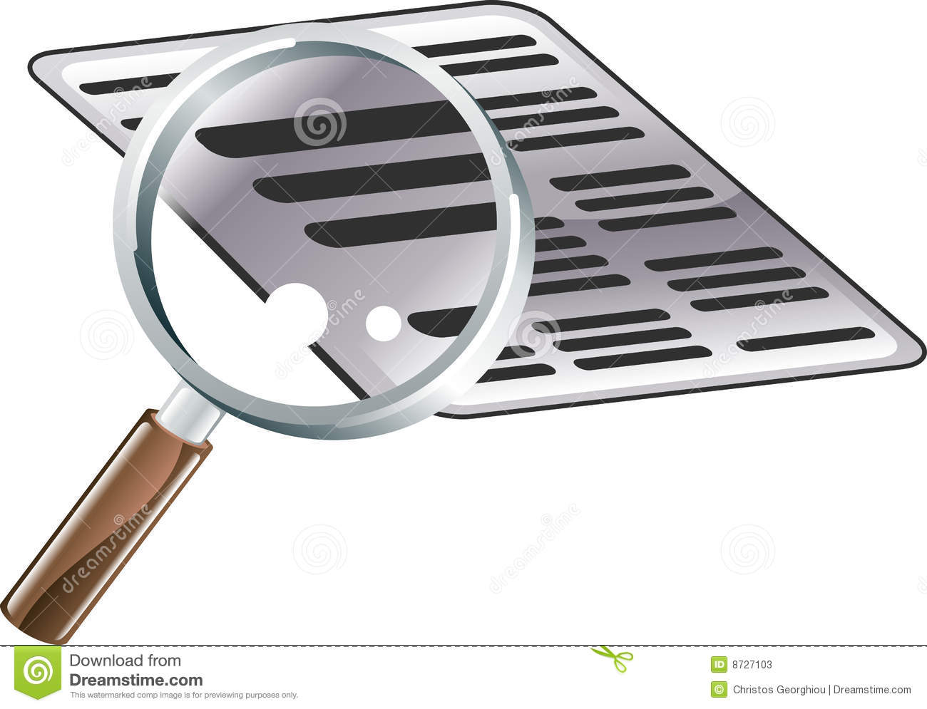 Magnifying Glass Document Search Icon Illustration Stock