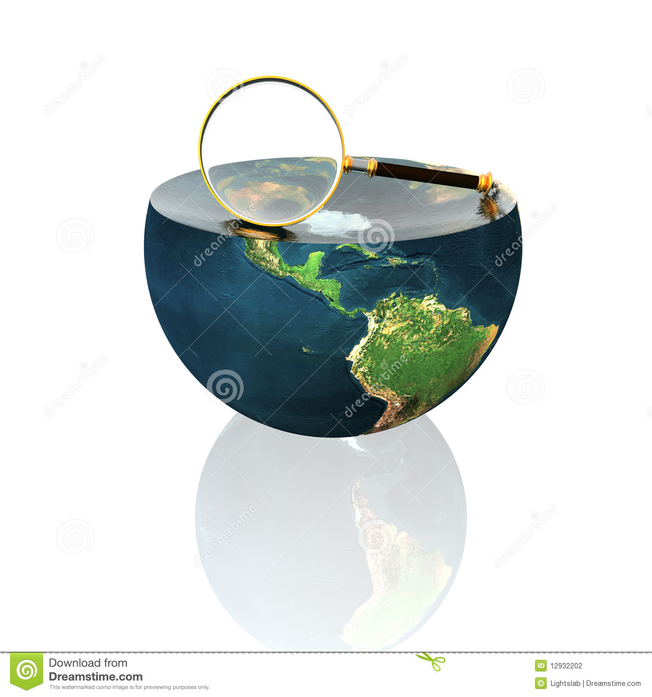 Magnifying glass on earth