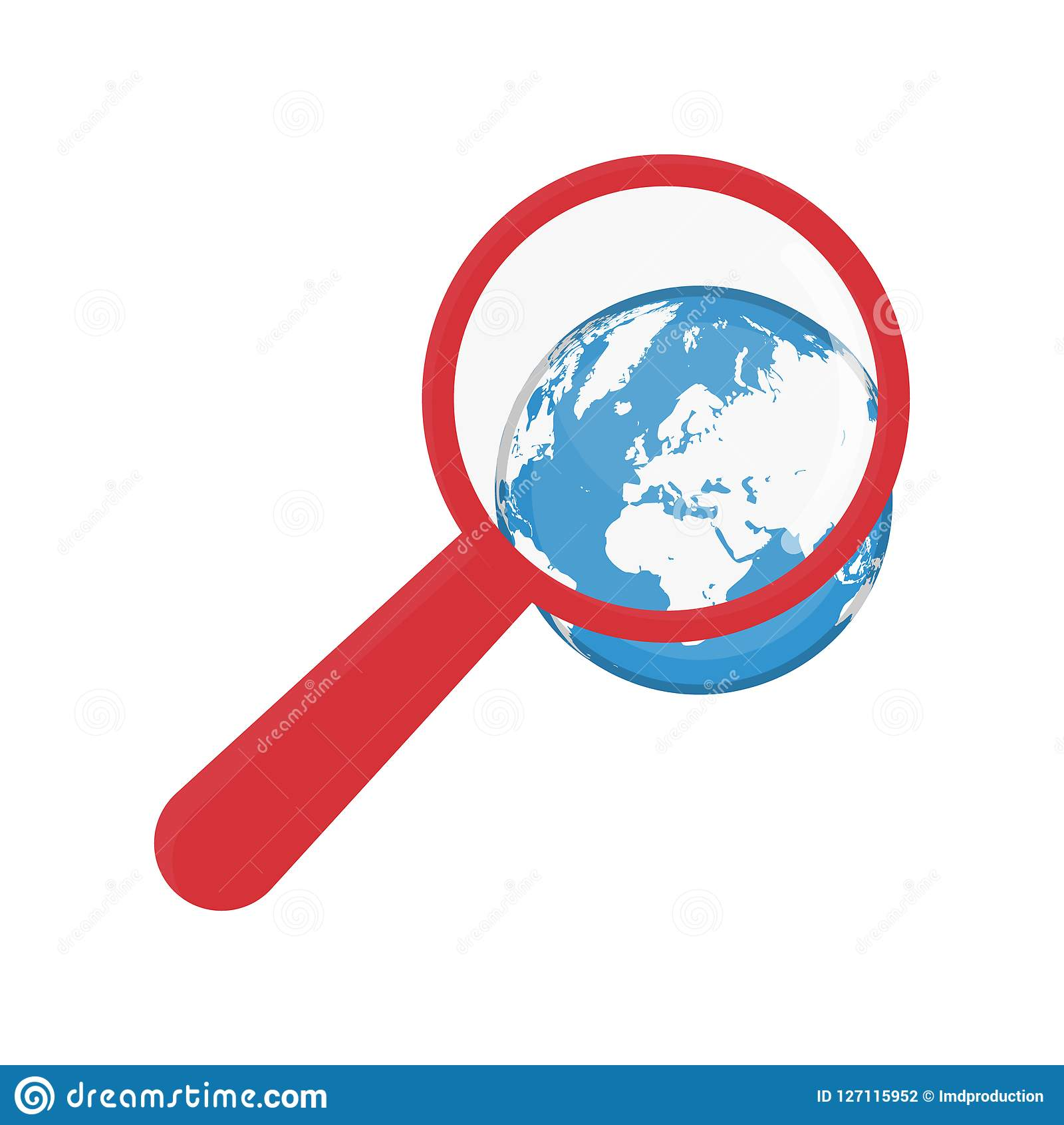 Magnifying glass earth vector eps