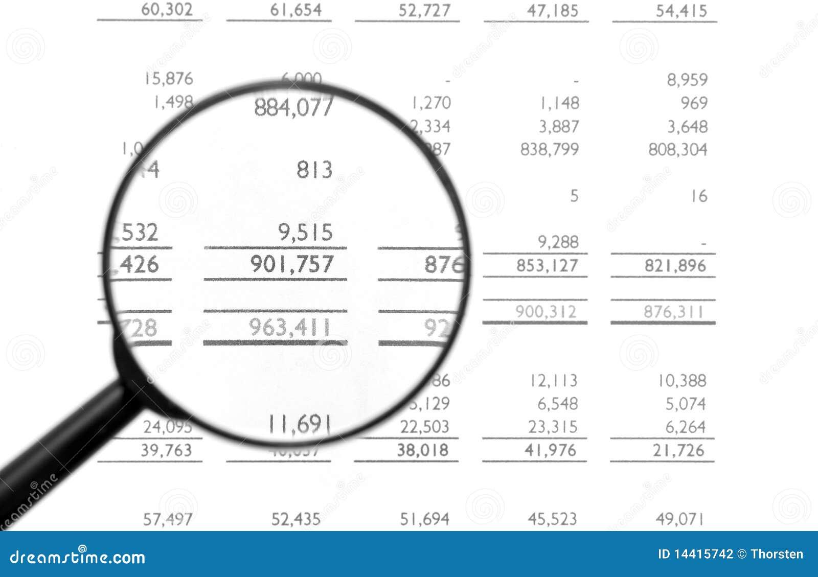 Magnifying Glass On Financial Balance Sheet