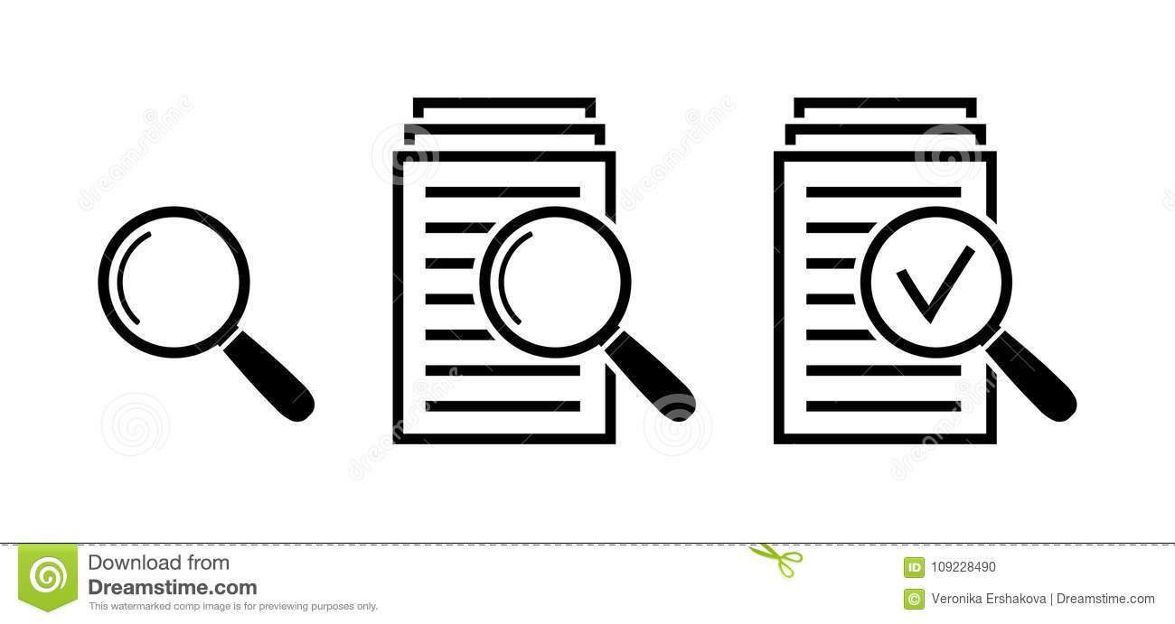 Magnifying Glass Icon Set, Search Documents Signs Stock