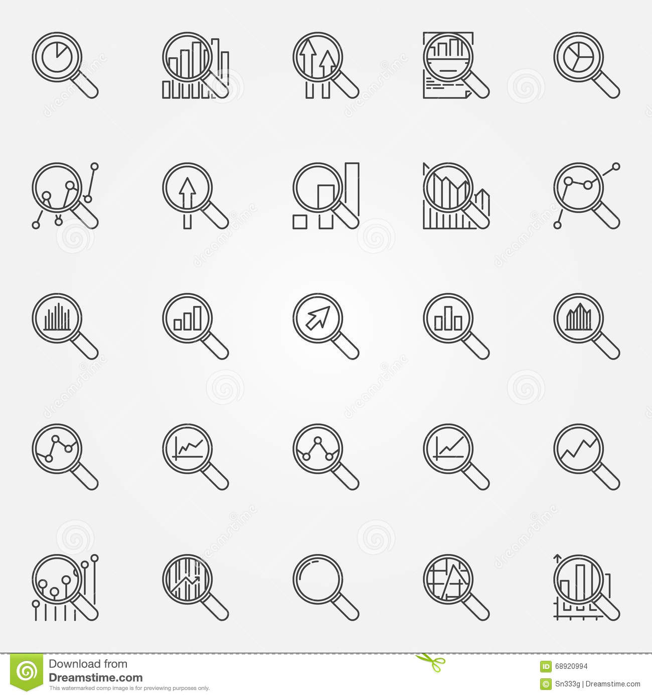 Magnifying Glass Icons Stock Vector Illustration Of Analyzing Circuit Schematic Symbols Chart Set Business Analytics Linear Signs Thin Line With Charts And Diagrams