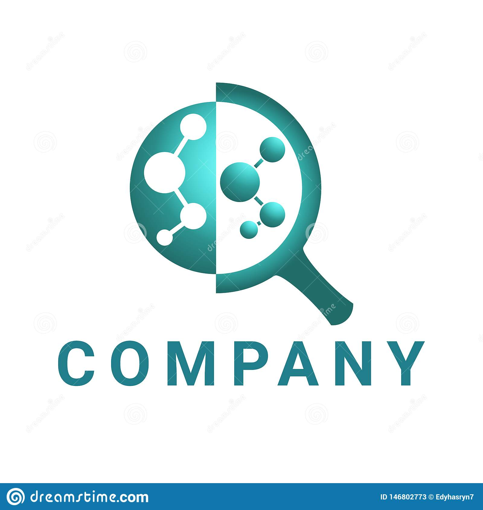 Magnifying glass logo, abstract circle connected in glass, dark green