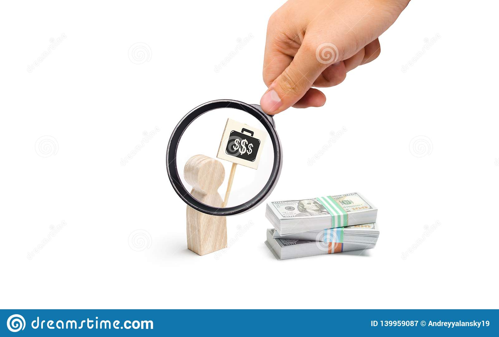 Magnifying glass is looking at the man figurine with a poster agitates near a pile of money. finding a better paid job. Financial