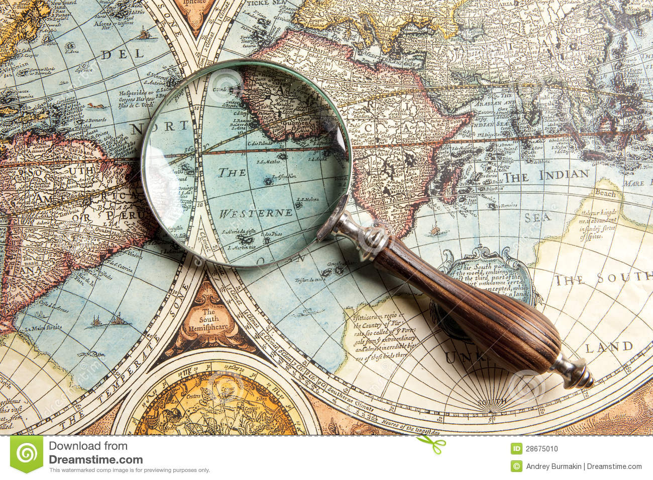 Magnifying Glass And Map Stock Photo - Image: 28675010