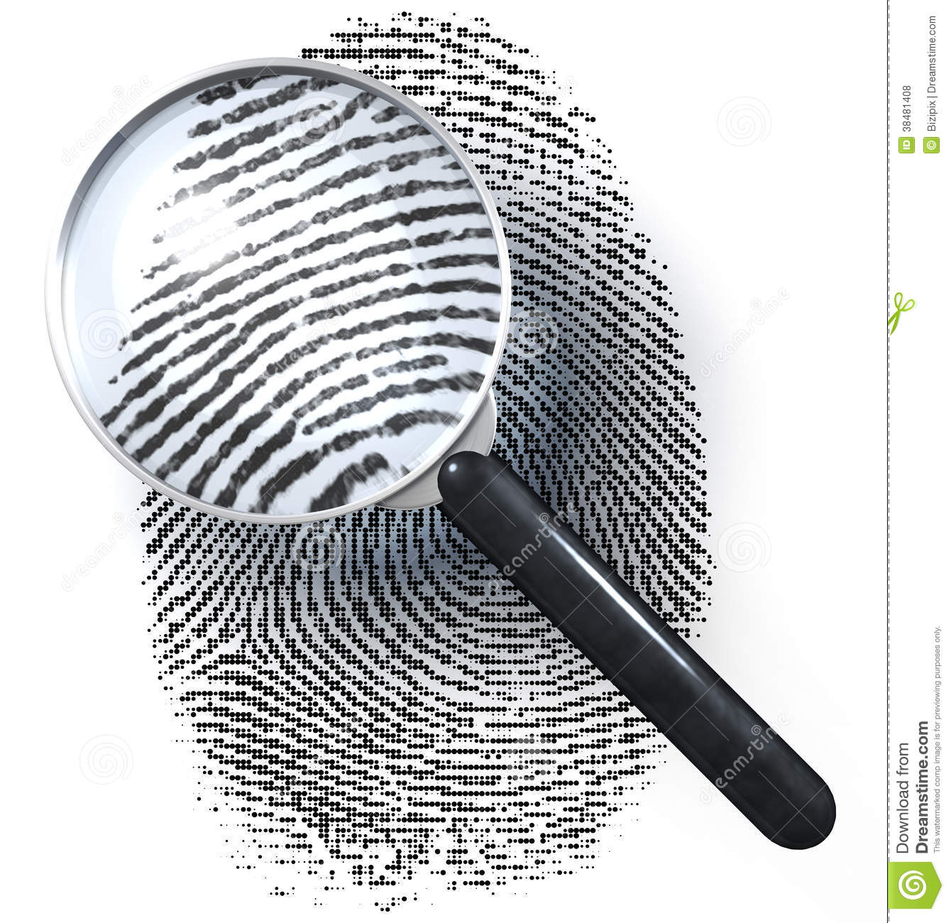 Royalty free stock photos magnifying glass over dot grid fingerprint