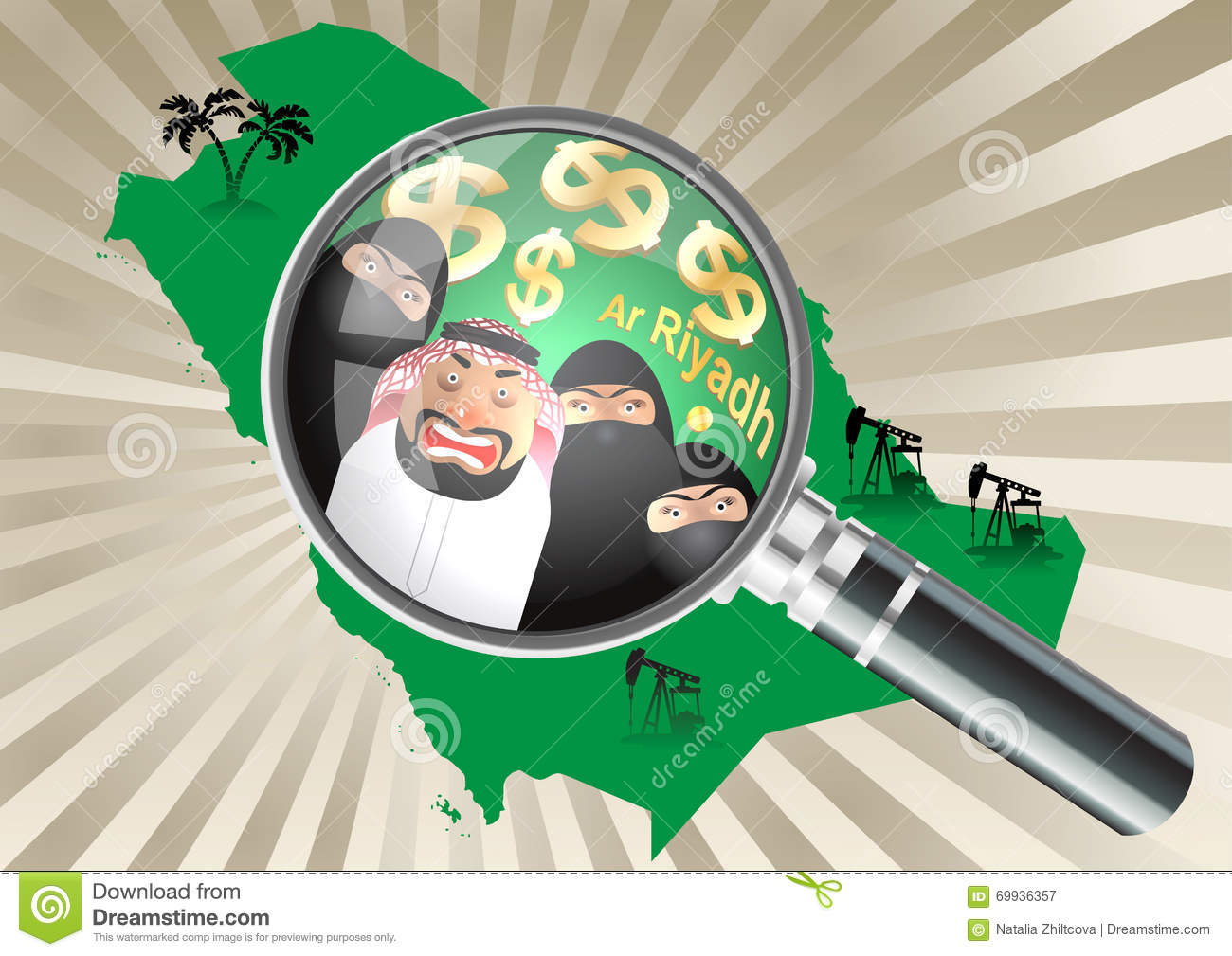Magnifying Glass Over A Saudi Arabia Map Arab And His Three Wives In Niqab Palm Trees Oil Rigs On Color Of Concept Stereotypes About